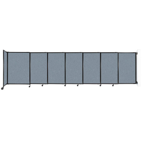 """Wall-Mounted StraightWall Sliding Partition 15'6"""" x 4' Powder Blue Fabric"""