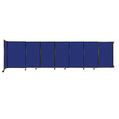 """Wall-Mounted StraightWall Sliding Partition 15'6"""" x 4' Royal Blue Fabric"""