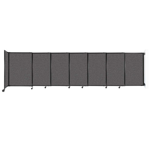 """Wall-Mounted StraightWall Sliding Partition 15'6"""" x 4' Charcoal Gray Fabric"""