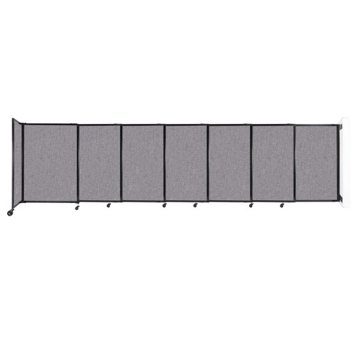"""Wall-Mounted StraightWall Sliding Partition 15'6"""" x 4' Cloud Gray Fabric"""