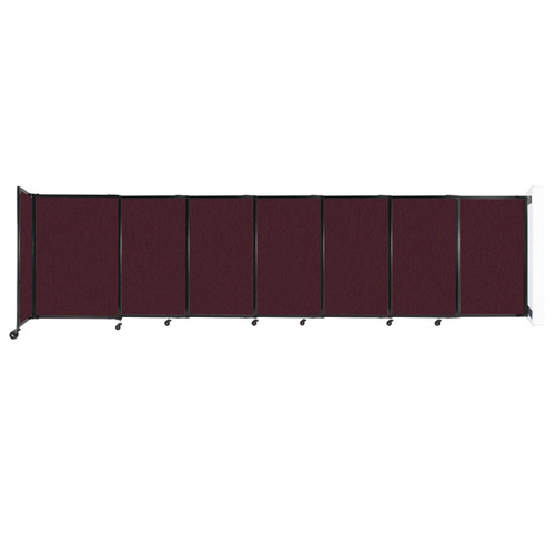 """Wall-Mounted StraightWall Sliding Partition 15'6"""" x 4' Cranberry Fabric"""