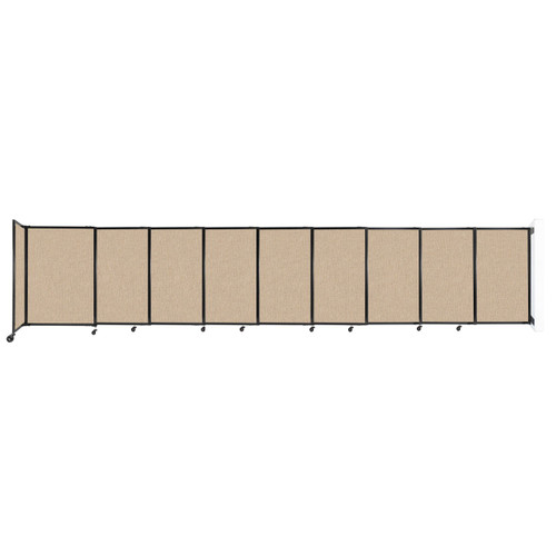 """Wall-Mounted StraightWall Sliding Partition 19'9"""" x 4' Beige Fabric"""