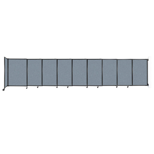 """Wall-Mounted StraightWall Sliding Partition 19'9"""" x 4' Powder Blue Fabric"""
