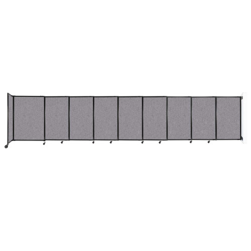 """Wall-Mounted StraightWall Sliding Partition 19'9"""" x 4' Cloud Gray Fabric"""