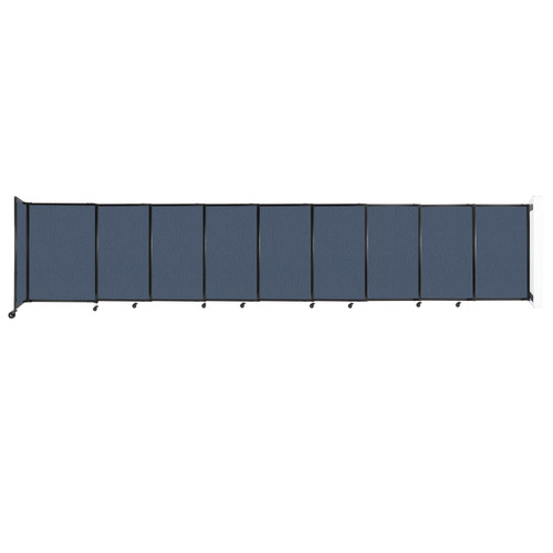 """Wall-Mounted StraightWall Sliding Partition 19'9"""" x 4' Ocean Fabric"""