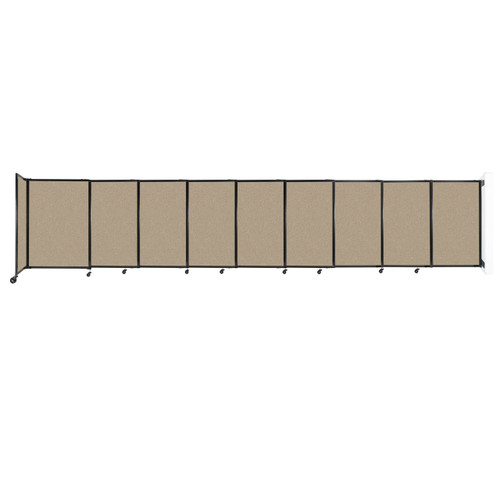 """Wall-Mounted StraightWall Sliding Partition 19'9"""" x 4' Rye Fabric"""