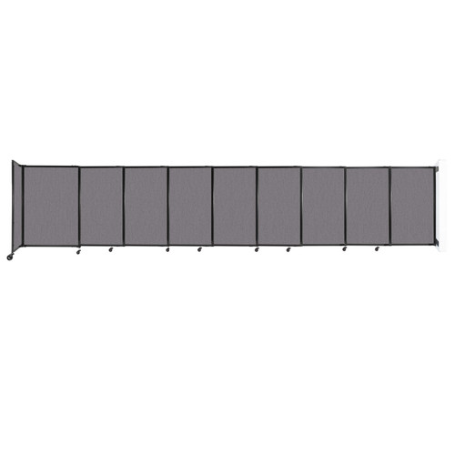 """Wall-Mounted StraightWall Sliding Partition 19'9"""" x 4' Slate Fabric"""