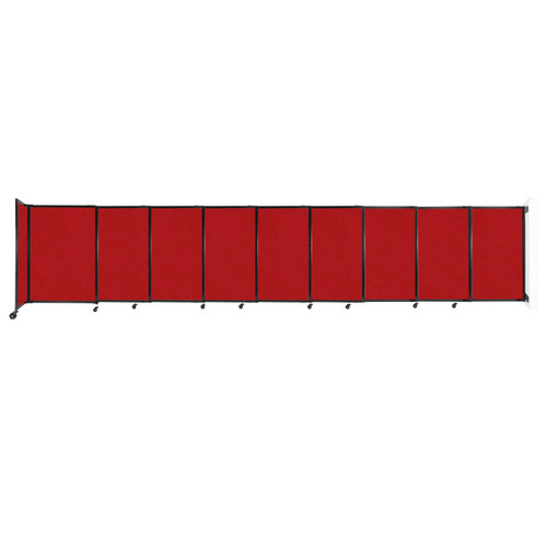 """Wall-Mounted StraightWall Sliding Partition 19'9"""" x 4' Red Fabric"""