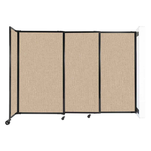 """Wall-Mounted StraightWall Sliding Partition 7'2"""" x 5' Beige Fabric"""