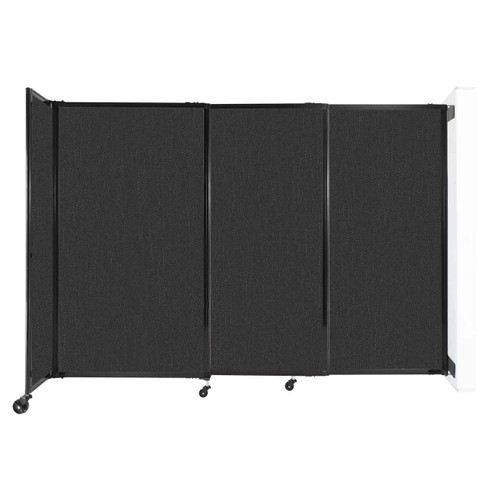 """Wall-Mounted StraightWall Sliding Partition 7'2"""" x 5' Black Fabric"""