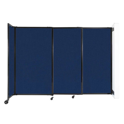"""Wall-Mounted StraightWall Sliding Partition 7'2"""" x 5' Navy Blue Fabric"""