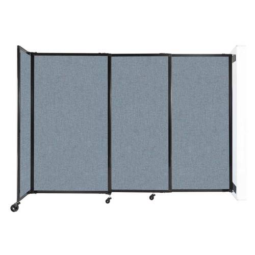 """Wall-Mounted StraightWall Sliding Partition 7'2"""" x 5' Powder Blue Fabric"""
