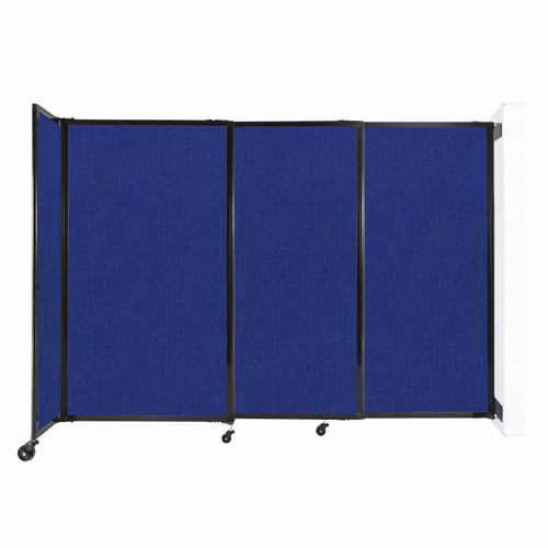 """Wall-Mounted StraightWall Sliding Partition 7'2"""" x 5' Royal Blue Fabric"""