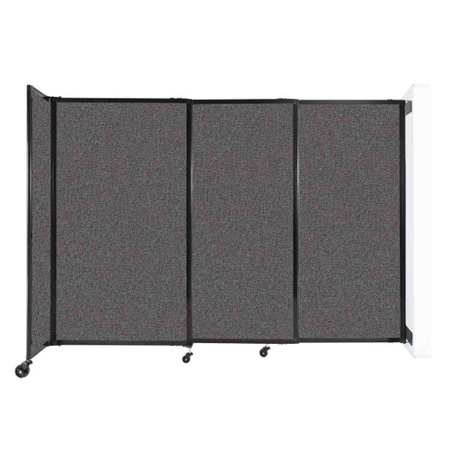 """Wall-Mounted StraightWall Sliding Partition 7'2"""" x 5' Charcoal Gray Fabric"""