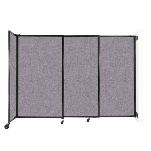 """Wall-Mounted StraightWall Sliding Partition 7'2"""" x 5' Cloud Gray Fabric"""