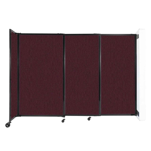 """Wall-Mounted StraightWall Sliding Partition 7'2"""" x 5' Cranberry Fabric"""