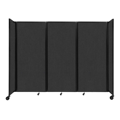"""Room Divider 360 Folding Portable Partition 8'6"""" x 6'10"""" Black Fabric"""