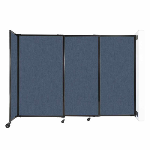 """Wall-Mounted StraightWall Sliding Partition 7'2"""" x 5' Ocean Fabric"""