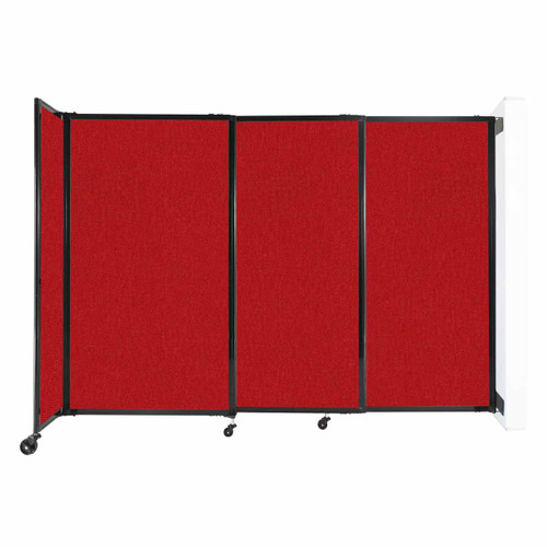 """Wall-Mounted StraightWall Sliding Partition 7'2"""" x 5' Red Fabric"""