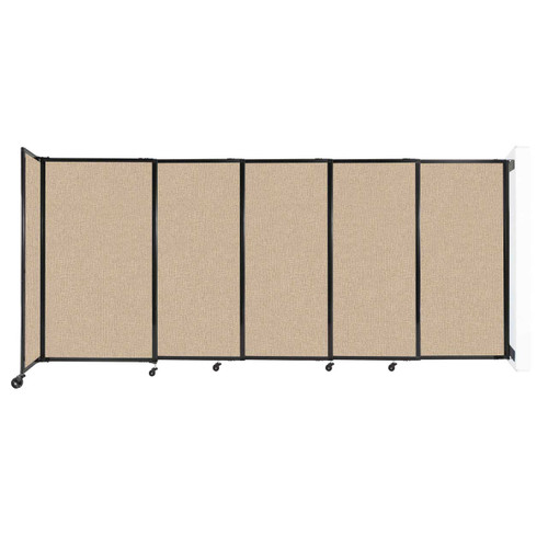 """Wall-Mounted StraightWall Sliding Partition 11'3"""" x 5' Beige Fabric"""