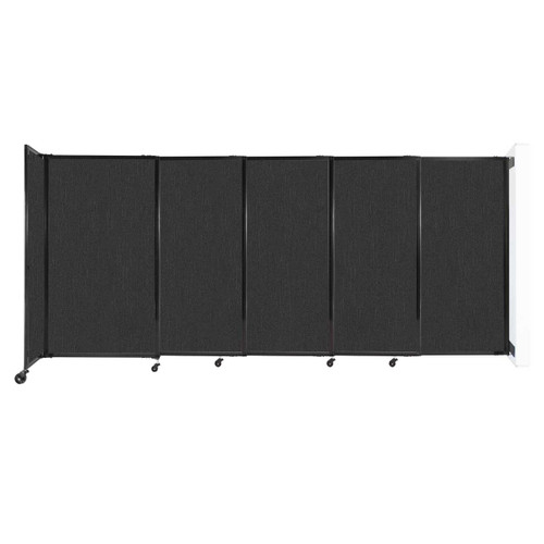 """Wall-Mounted StraightWall Sliding Partition 11'3"""" x 5' Black Fabric"""