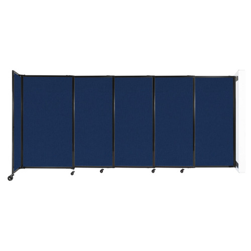 """Wall-Mounted StraightWall Sliding Partition 11'3"""" x 5' Navy Blue Fabric"""