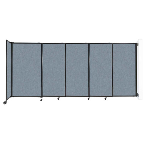 """Wall-Mounted StraightWall Sliding Partition 11'3"""" x 5' Powder Blue Fabric"""