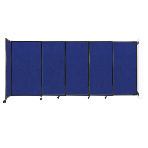 """Wall-Mounted StraightWall Sliding Partition 11'3"""" x 5' Royal Blue Fabric"""