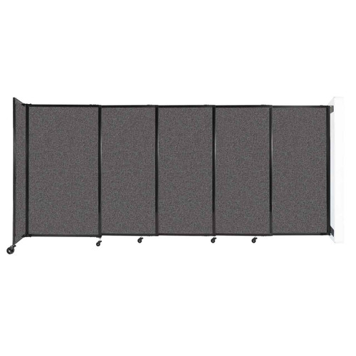 """Wall-Mounted StraightWall Sliding Partition 11'3"""" x 5' Charcoal Gray Fabric"""