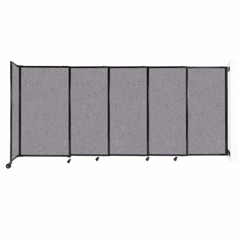 """Wall-Mounted StraightWall Sliding Partition 11'3"""" x 5' Cloud Gray Fabric"""