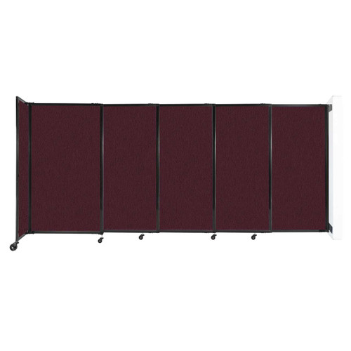 """Wall-Mounted StraightWall Sliding Partition 11'3"""" x 5' Cranberry Fabric"""