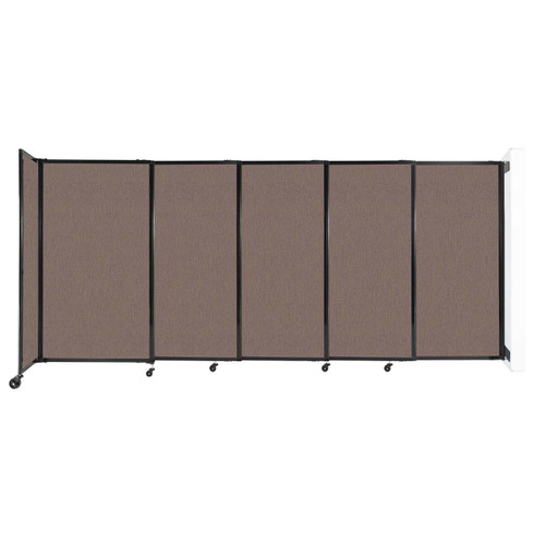 """Wall-Mounted StraightWall Sliding Partition 11'3"""" x 5' Latte Fabric"""