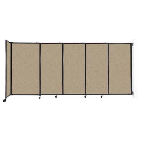 """Wall-Mounted StraightWall Sliding Partition 11'3"""" x 5' Rye Fabric"""