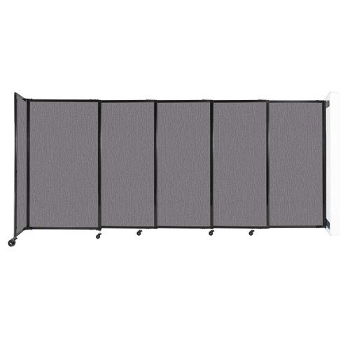 """Wall-Mounted StraightWall Sliding Partition 11'3"""" x 5' Slate Fabric"""
