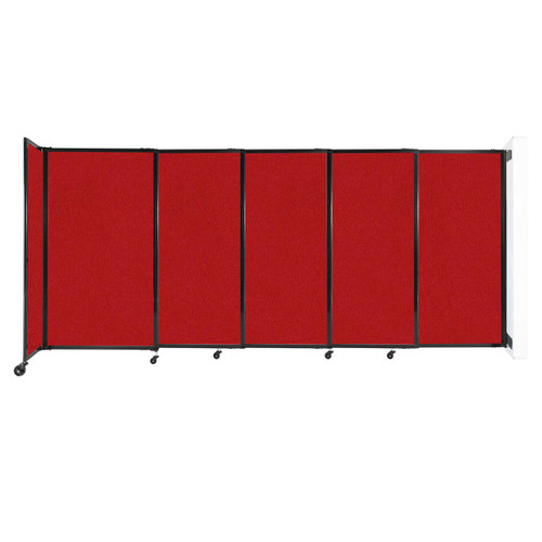 """Wall-Mounted StraightWall Sliding Partition 11'3"""" x 5' Red Fabric"""