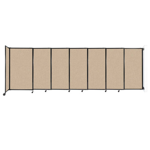 """Wall-Mounted StraightWall Sliding Partition 15'6"""" x 5' Beige Fabric"""