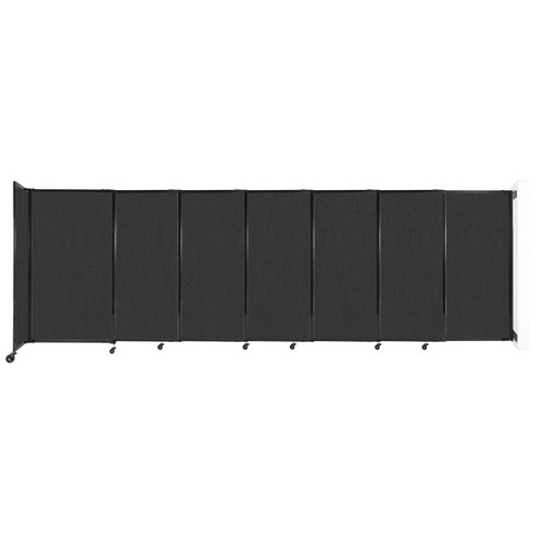 """Wall-Mounted StraightWall Sliding Partition 15'6"""" x 5' Black Fabric"""