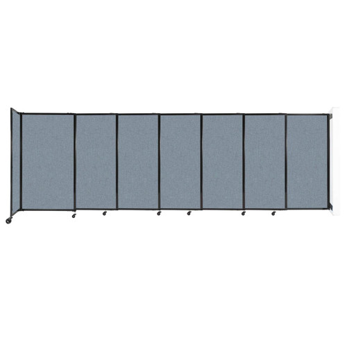 """Wall-Mounted StraightWall Sliding Partition 15'6"""" x 5' Powder Blue Fabric"""