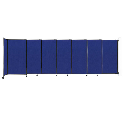 """Wall-Mounted StraightWall Sliding Partition 15'6"""" x 5' Royal Blue Fabric"""