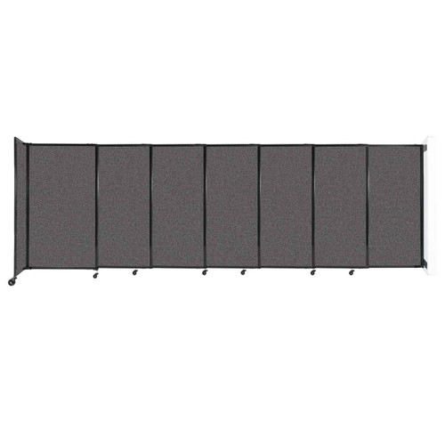 """Wall-Mounted StraightWall Sliding Partition 15'6"""" x 5' Charcoal Gray Fabric"""