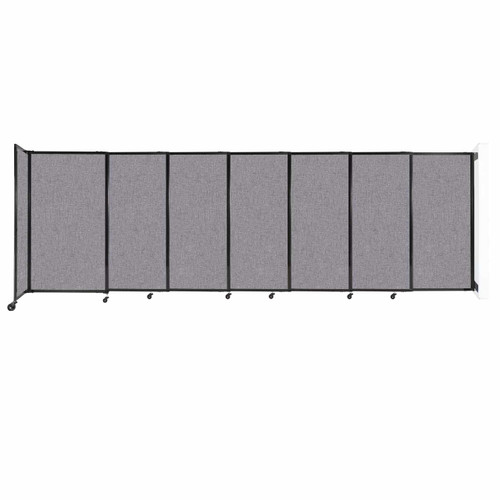"""Wall-Mounted StraightWall Sliding Partition 15'6"""" x 5' Cloud Gray Fabric"""