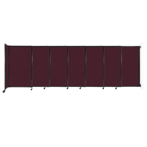 """Wall-Mounted StraightWall Sliding Partition 15'6"""" x 5' Cranberry Fabric"""