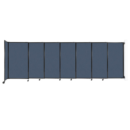 """Wall-Mounted StraightWall Sliding Partition 15'6"""" x 5' Ocean Fabric"""
