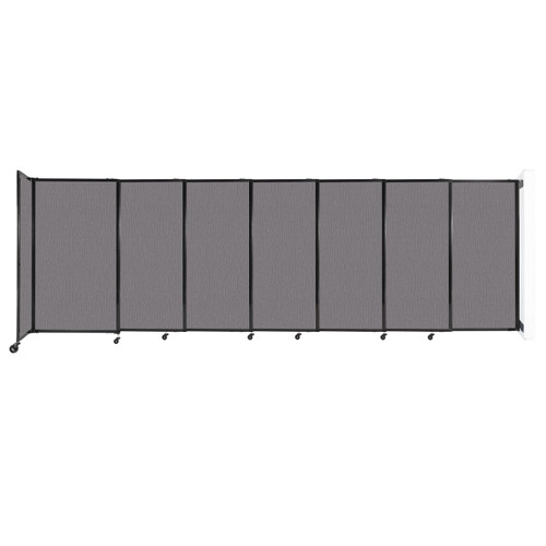 """Wall-Mounted StraightWall Sliding Partition 15'6"""" x 5' Slate Fabric"""