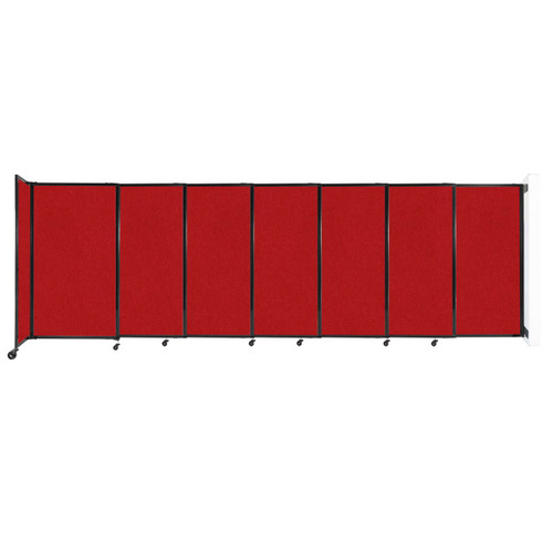 """Wall-Mounted StraightWall Sliding Partition 15'6"""" x 5' Red Fabric"""