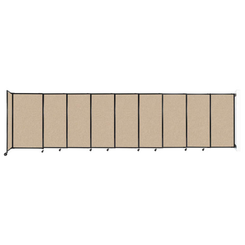 """Wall-Mounted StraightWall Sliding Partition 19'9"""" x 5' Beige Fabric"""