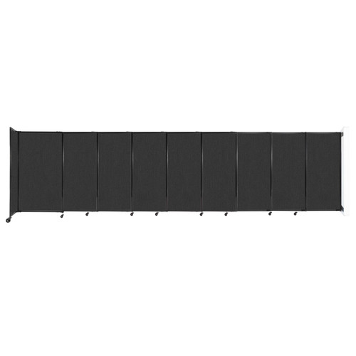 """Wall-Mounted StraightWall Sliding Partition 19'9"""" x 5' Black Fabric"""