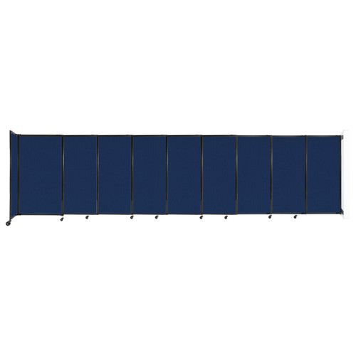 """Wall-Mounted StraightWall Sliding Partition 19'9"""" x 5' Navy Blue Fabric"""