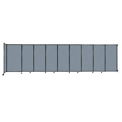 """Wall-Mounted StraightWall Sliding Partition 19'9"""" x 5' Powder Blue Fabric"""