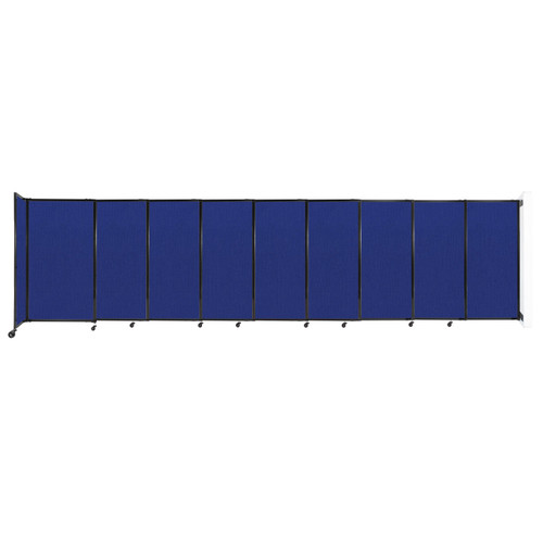 """Wall-Mounted StraightWall Sliding Partition 19'9"""" x 5' Royal Blue Fabric"""